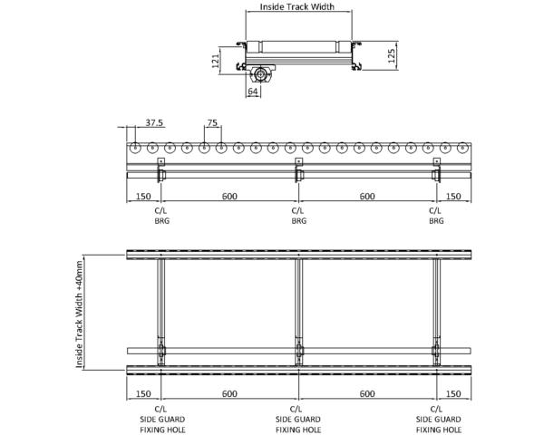 Aluminium Lineshaft Conveyor – XU60/90 – 75mm Pitch Technical Drawing