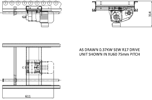 Aluminium Lineshaft Powered Roller Conveyor – Geared Motor Drive Unit Technical Drawing