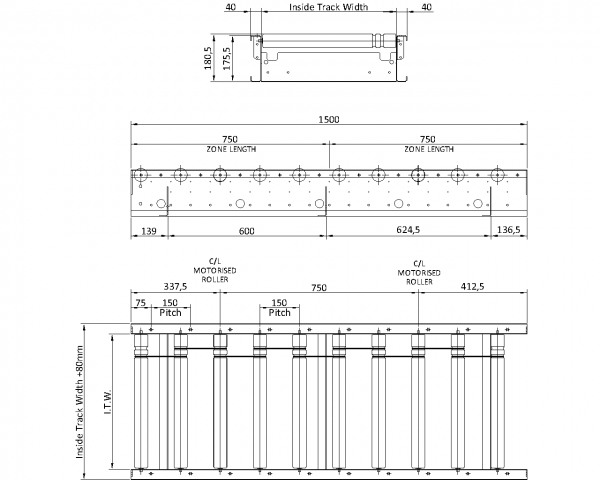 Painted Steel 24V Motorised Roller Conveyor 'O' Ring – 150mm Pitch Technical Drawing