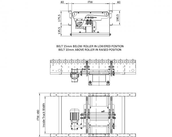 Painted Steel 24V Motorised Roller Conveyor 'O' Ring – Belt Transfer Unit Technical Drawing