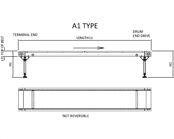Painted Steel Belt Conveyor – A1 Type Technical Drawing