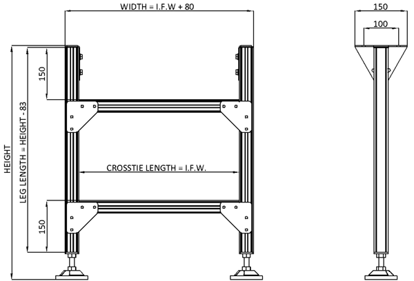 Aluminium Gravity Roller Conveyor – Support Stands Technical Drawing