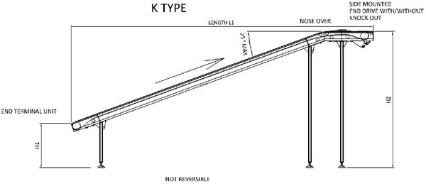 Aluminium Belt Conveyor – K Type Technical Drawing