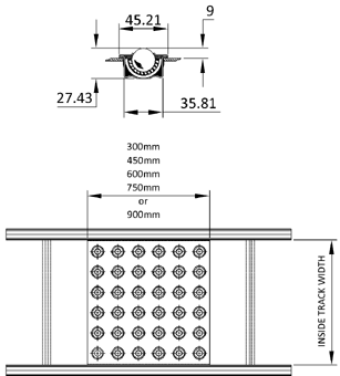Aluminium Gravity Roller Conveyor – Ball Tables Technical Drawing