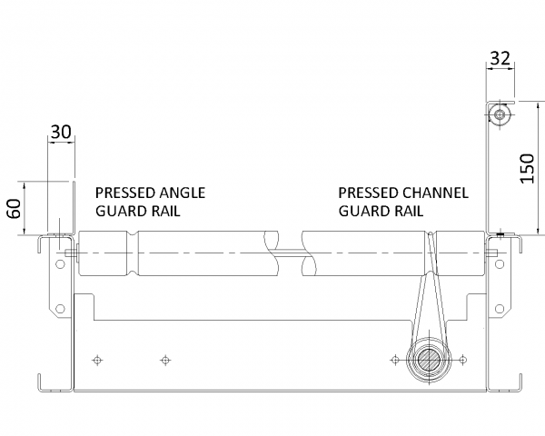Painted Steel Guard Rail and Underguarding Technical Drawing