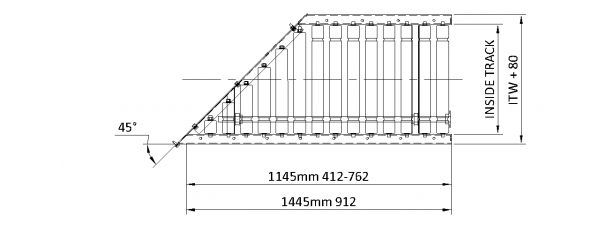 Painted Steel Powered Roller Lineshaft Conveyor – 30° Mitre Section Technical Drawing