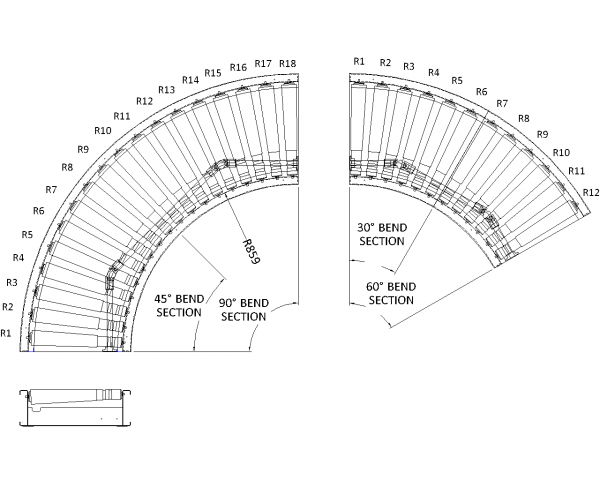 Painted Steel Powered Roller Lineshaft Conveyor – Bend Unit Technical Drawing