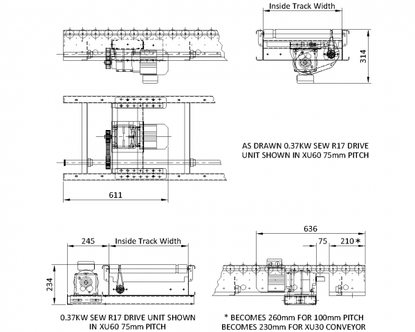 Painted Steel Lineshaft Powered Roller Conveyor – Geared Motor Drive Unit Technical Drawing
