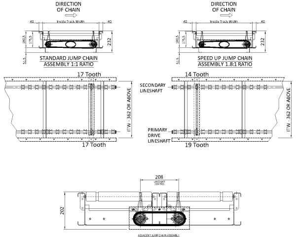 Painted Steel Powered Roller Lineshaft Conveyor – Jump Chain Assembly Technical Drawing