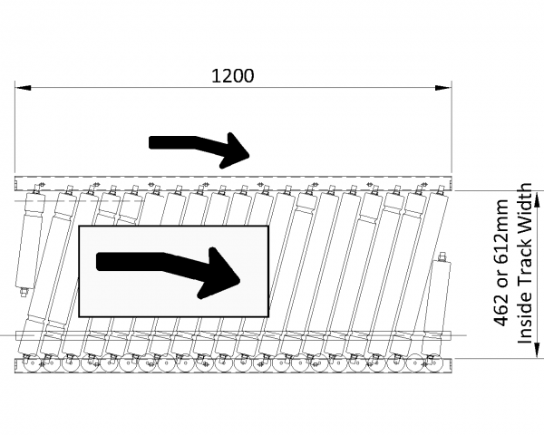 Painted Steel Powered Roller Lineshaft Conveyor – Pack Positioning Unit Technical Drawing