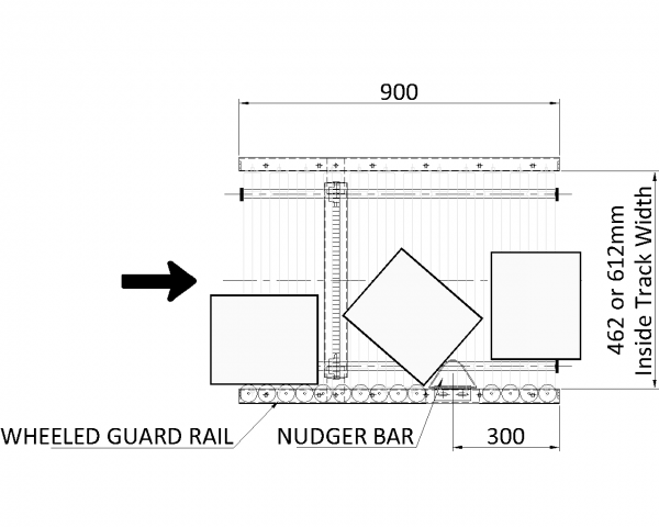 Painted Steel Powered Roller Lineshaft Conveyor – Pack Turn Unit Technical Drawing