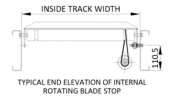 Painted Steel Powered Roller Lineshaft Conveyor – Rotating Blade Stop Technical Drawing