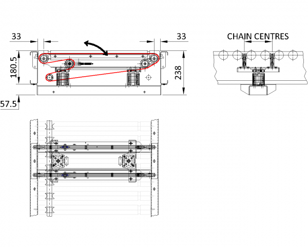 Painted Steel Powered Roller Lineshaft Conveyor – Vertical Lift Chain Transfer Unit Technical Drawing