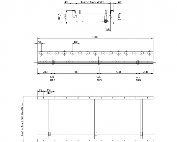 Painted Steel Powered Roller Lineshaft Conveyor – XU60/90 – 100mm Pitch Technical Drawing