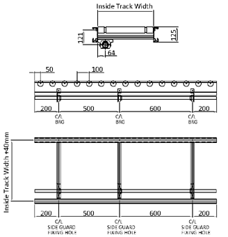 Aluminium Lineshaft Powered Roller Conveyor – XU60/90 – 100mm Pitch Technical Drawing