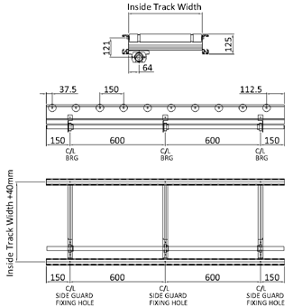 Aluminium Lineshaft Powered Roller Conveyor – XU60/90 – 150mm Pitch Technical Drawing