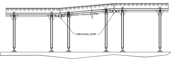 Aluminium Lineshaft Powered Roller Conveyor –  Incline / Decline Joint Technical Drawing