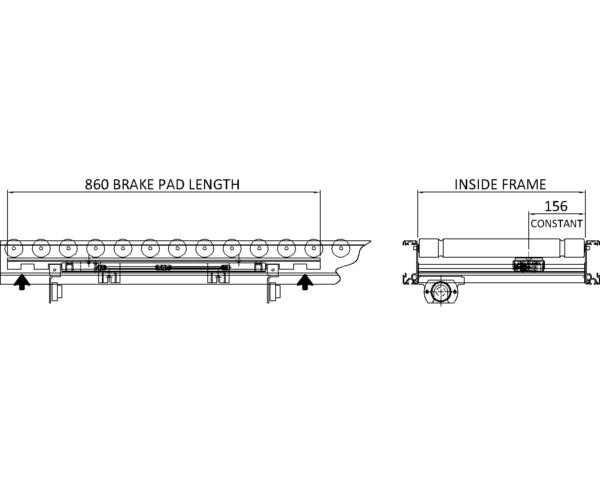 Aluminium Lineshaft Powered Roller Conveyor – Line Brake Technical Drawing