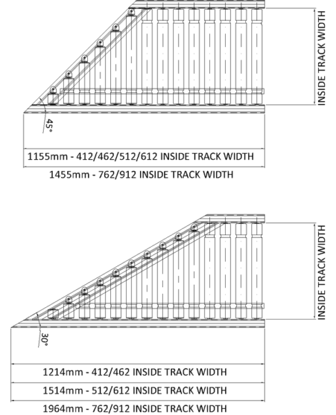 Aluminium Lineshaft Powered Roller Conveyor – 30° Mitre Section Technical Drawing