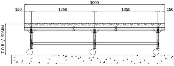 Aluminium Lineshaft Powered Roller Conveyor – Mobile Unit Technical Drawing