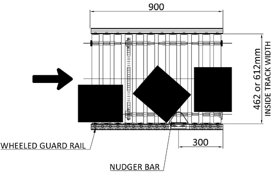 Aluminium Lineshaft Powered Roller Conveyor – Pack Turn Unit Technical Drawing