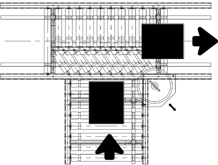 Aluminium Lineshaft Powered Roller Conveyor – 90° Junction Technical Drawing
