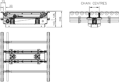 Aluminium Lineshaft Powered Roller Conveyor – Vertical Lift Chain Transfer Unit Technical Drawing