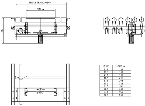 Aluminium Lineshaft Powered Roller Conveyor – Vertical Blade Stop Technical Drawing
