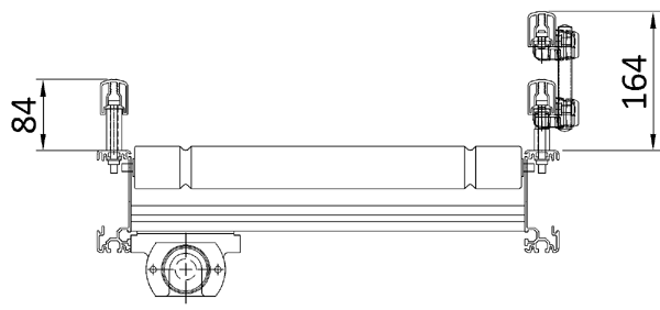 Aluminium Lineshaft Powered Roller Conveyor – Guard Rail and Underguarding Technical Drawing