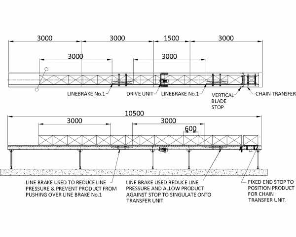 Painted Steel Powered Roller Lineshaft Conveyor – Stop and Line Brake Applications Technical Drawing