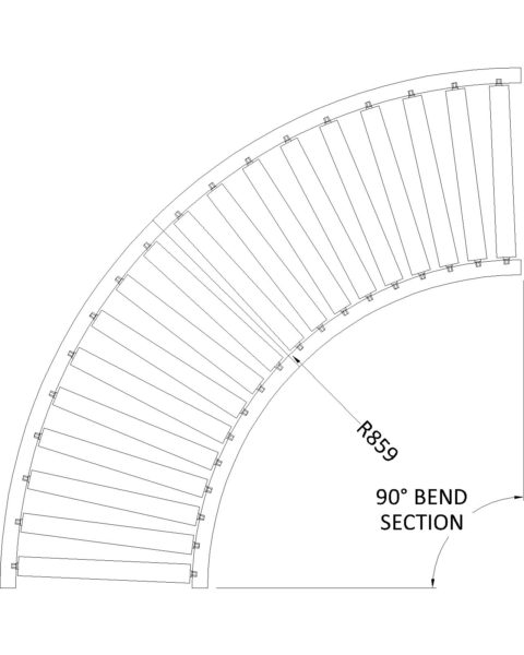 Painted Steel Gravity Roller Conveyor – Bend CTH NE4 Technical Drawing