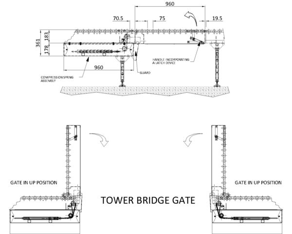 Painted Steel Gravity Roller Conveyor – Lift Up Gate Section XU60 PF1 Technical Drawing