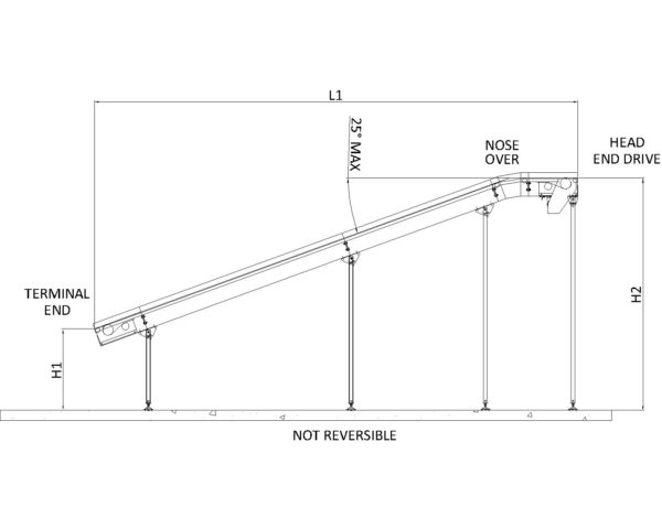 Painted Steel Belt Conveyor – K Type Technical Drawing