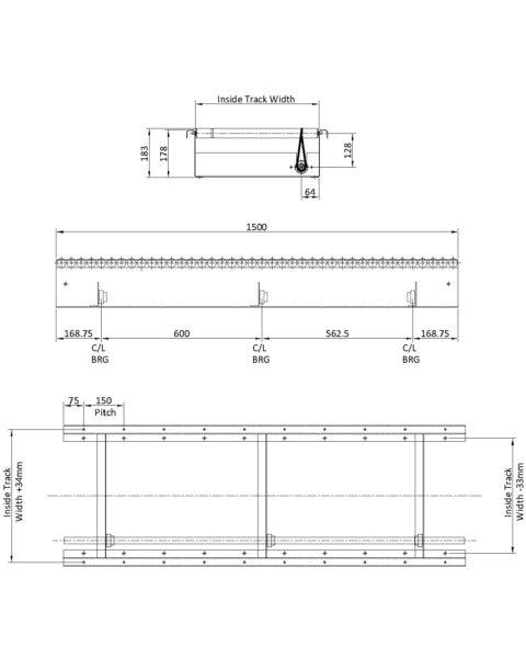 Painted Steel Powered Roller Lineshaft Conveyor – (Light Duty) XU30 Technical Drawing