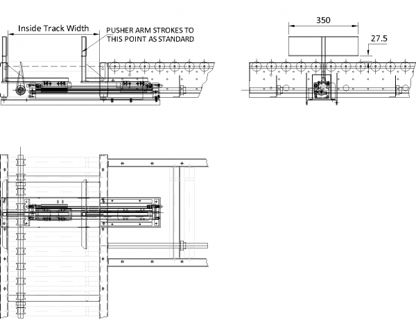 Painted Steel Powered Roller Lineshaft Conveyor – Pusher Unit Technical Drawing