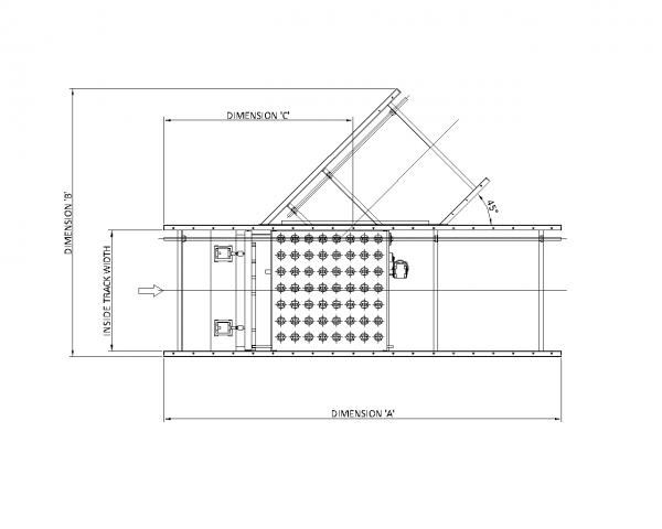 Painted Steel Powered Roller Lineshaft Conveyor – Switch Sorter Technical Drawing