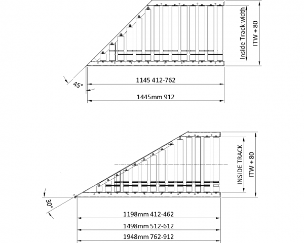 Painted Steel 24V Motorised Roller Conveyor 'O' Ring – 45° Mitre Section Technical Drawing