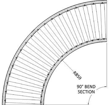 Aluminium Gravity Roller Conveyor – Bend AL GR PF1 Technical Drawing