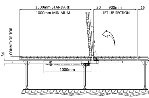 Aluminium Gravity Roller Conveyor – Lift Up Gate Section 80mm Profile Technical Drawing