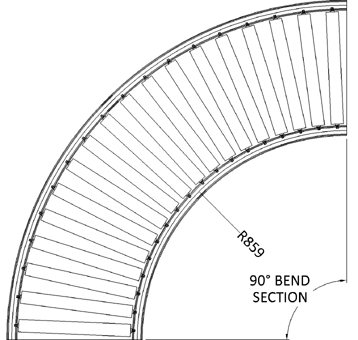Aluminium Gravity Roller Conveyor – Bend AL GR PN1 Technical Drawing