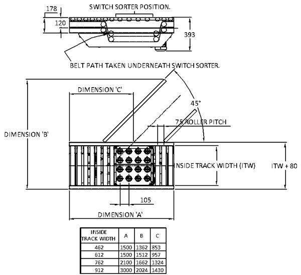 Aluminium Belt Under Roller – Switch Sorter Technical Drawing