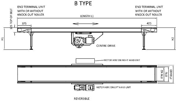 Aluminium Belt Conveyor – B Type Technical Drawing