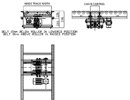 Aluminium 24V Motorised Roller Conveyor 'O' Ring – Belt Transfer Unit Technical Drawing