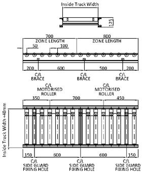 Aluminium 24V Motorised Roller Conveyor 'O' Ring – 100mm Pitch Technical Drawing