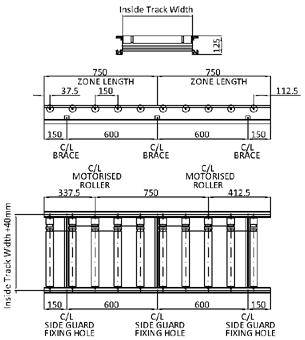 Aluminium 24V Motorised Roller Conveyor 'O' Ring – 150mm Pitch Technical Drawing