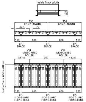 Aluminium 24V Motorised Roller Conveyor 'O' Ring – 75mm Pitch Technical Drawing