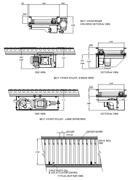 Aluminium Belt Under Roller Conveyor – Straight Track Technical Drawing