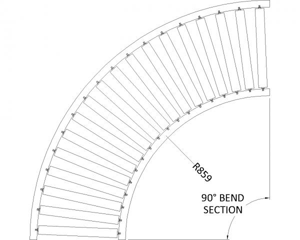 Painted Steel Gravity Roller Conveyor – Bend XU60 PF1 Technical Drawing
