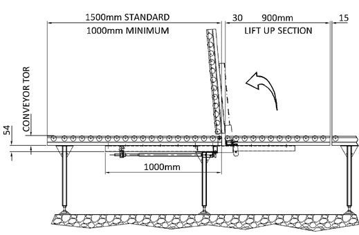 Aluminium Gravity Roller Conveyor – Lift Up Gate Section 120mm profile Technical Drawing