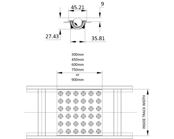 Painted Steel Gravity Conveyor – Ball Tables Technical Drawing